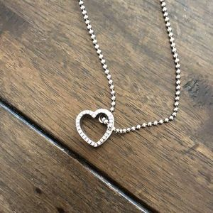 Coach Sterling Silver Heart Necklace